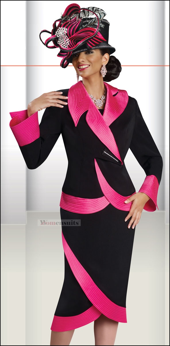 Bold and Beautiful 2 Piece Skirt Set from Donna Vinci in Black and Fushia 11138 $229.00