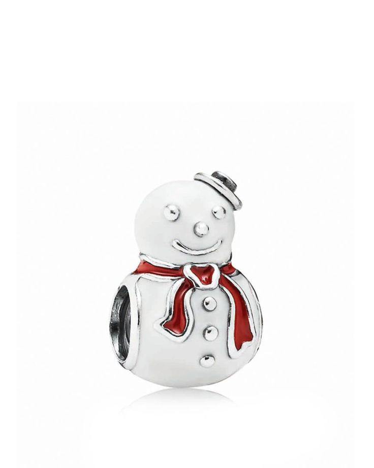 PANDORA Charm - Sterling Silver & Enamel Happy Snowman, Moments Collection