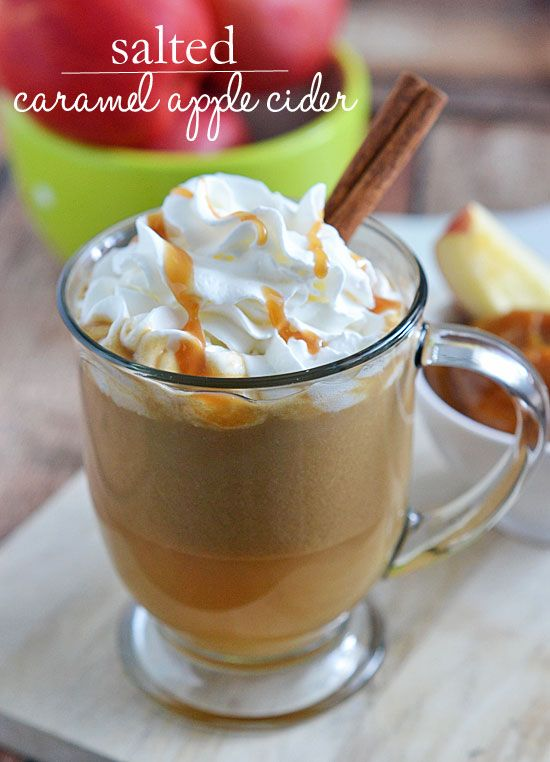 Salted Caramel Apple Cider - The perfect way to warm up on cool fall nights. With just a few ingredients and 10 minutes, you'll be sipping your way to fall flavors in no time!