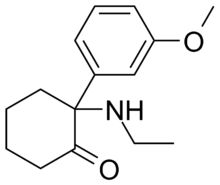 Methoxetamine (MXE) or 3-MeO-2-Oxo-PCE is a chemical of the arylcyclohexylamine class which has been sold as a designer drug.[1] It is a derivative of ketamine that also contains structural features of eticyclidine and 3-MeO-PCP. Methoxetamine is thought to behave as a NMDA receptor antagonist and dopamine reuptake inhibitor, though it has not been formally profiled pharmacologically.