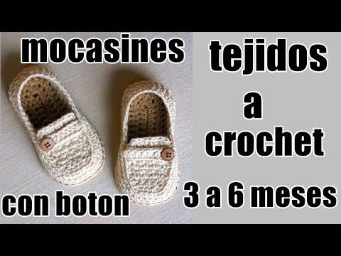mocasines con boton a crochet - YouTube