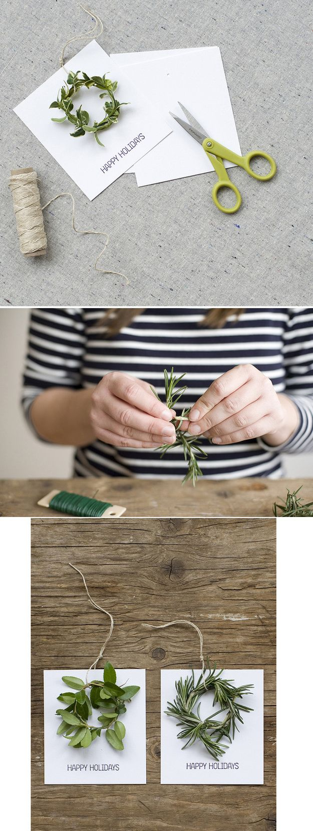 A Simple Wreath Holiday Card | 49 Awesome DIY Holiday Cards Rosemary, Lavender greenery