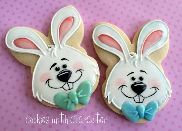 Easter Bunny Cookies~                                          By Cookies with Character {Guest Post}, White, blue bow, pink ears