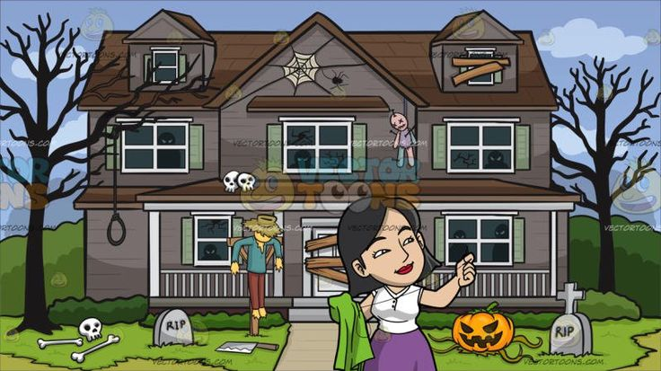 An Asian Woman Repairing Her Scarf At House Decorated For Halloween:  A woman with black hair wearing a white sleeveless top long purple skirt and yellow shoes smirks while sewing a green cloth in her right hand with the needle and thread in her left hand. Set in a two level house with gray walls and brown roofing white window panels with green shade white door plastered by wood slabs surrounded by bushy green plants and two withered dark brown tree trunks looking haunted and creepy with…