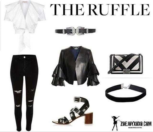 "7 Likes, 1 Comments - F A N T A S Y  W A R D R O B E (@fantasywardrobexoxo) on Instagram: ""THE RUFFLE #TheRuffle #Ruffles #WhiteShirt #LeatherJacket #AlexanderMcQueen #RiverIsland #BlackJean…"""