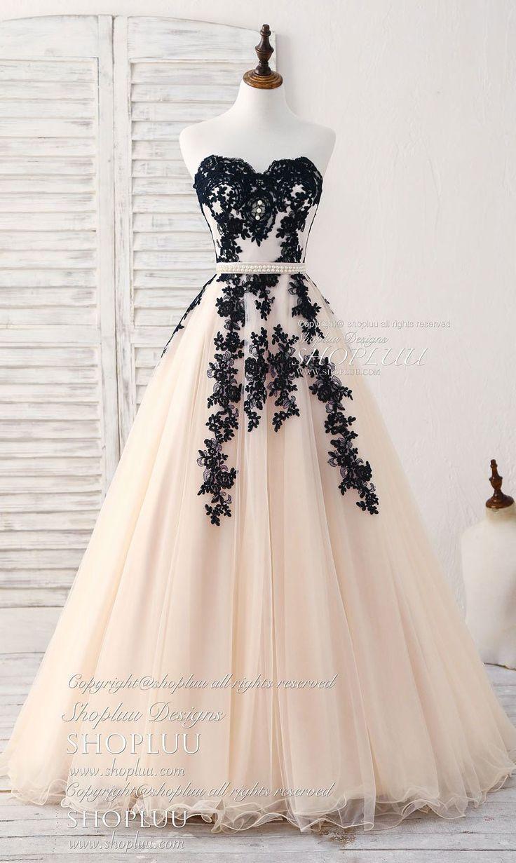 Black tulle lace applique long prom dress, black evening dress