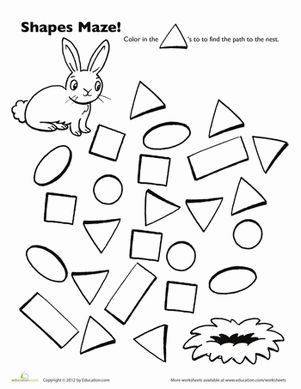 Preschool Shapes Mazes Worksheets: Bunny Shape Maze