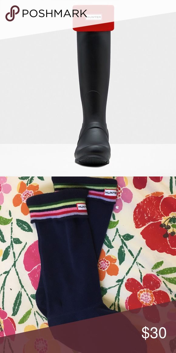 Hunter Welly Socks Hunter Welly Socks that fit perfectly into Hunter rain boots.  Warm, fuzzy, cute socks.  Great condition! Fits women's size 5-7. Bottom photo is the actual item.  Socks are navy. Hunter Boots Shoes Winter & Rain Boots