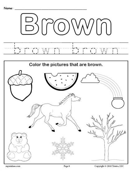 FREE Color Brown Worksheet Preschool Preschool colors