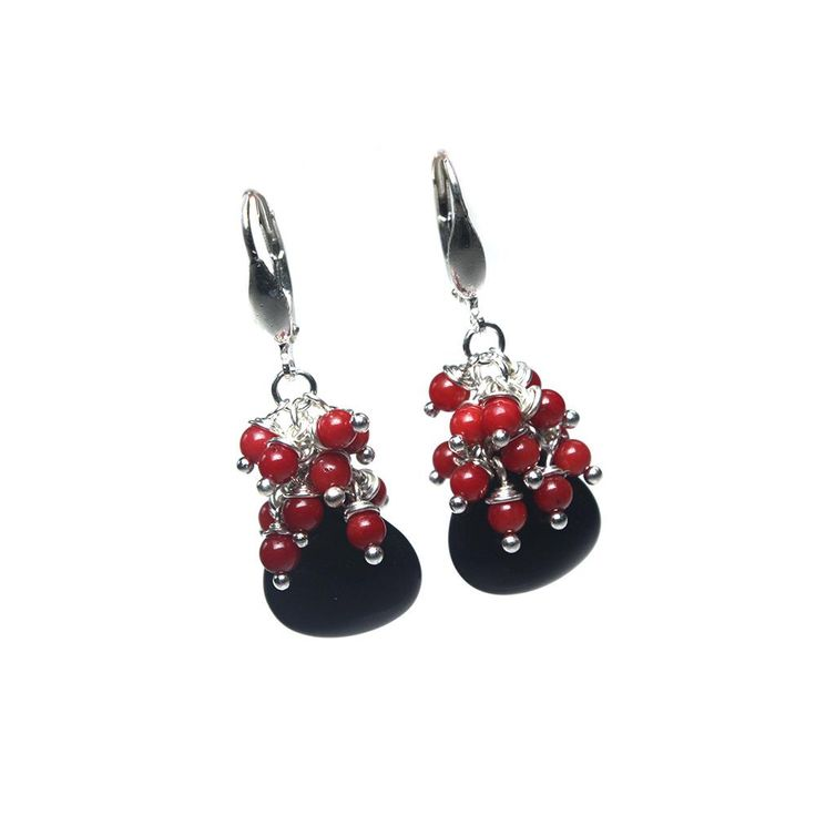 Earrings classic - Onyx, Coral and Sterling Silver
