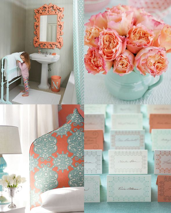 "Love the coral flowers, and the light blue vase for the tables to tie the colors together! (less aqua, more light, sky blue) (If we just did plain, white tablecloths, I like the light blue vase with coral flowers similar to the bridesmaids bouquets--see pictures that say ""bridesmaid bouquets"")"