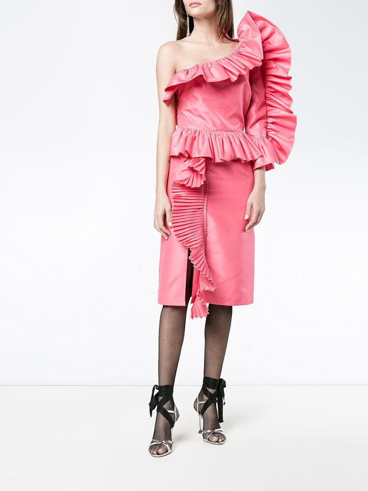 Gucci платье на одно плечо с рюшами