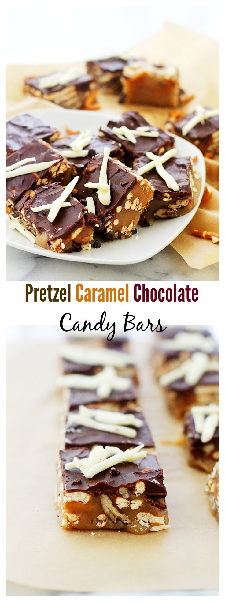 Pretzel Caramel Chocolate Candy Bars | www.diethood.com | Soft, chewy and crunchy candy bars made with pretzels, caramel and chocolate!