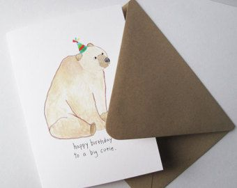 Big Cutie. Happy Birthday Card.  Print of my Original Watercolor Painting.