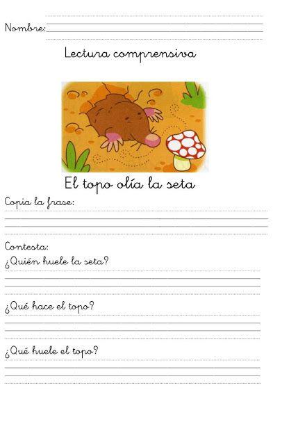 1º primaria. Una frase. Letra cursiva.