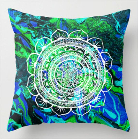 Mandala Aquamarine Pillow case From my original by GoldenAcaciaArt, $32.00