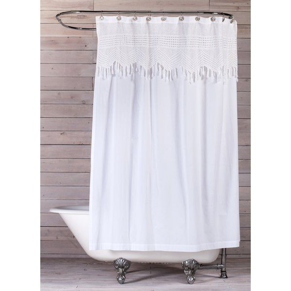 Vintage Crochet Cotton Single Shower Curtain Vintage Shower