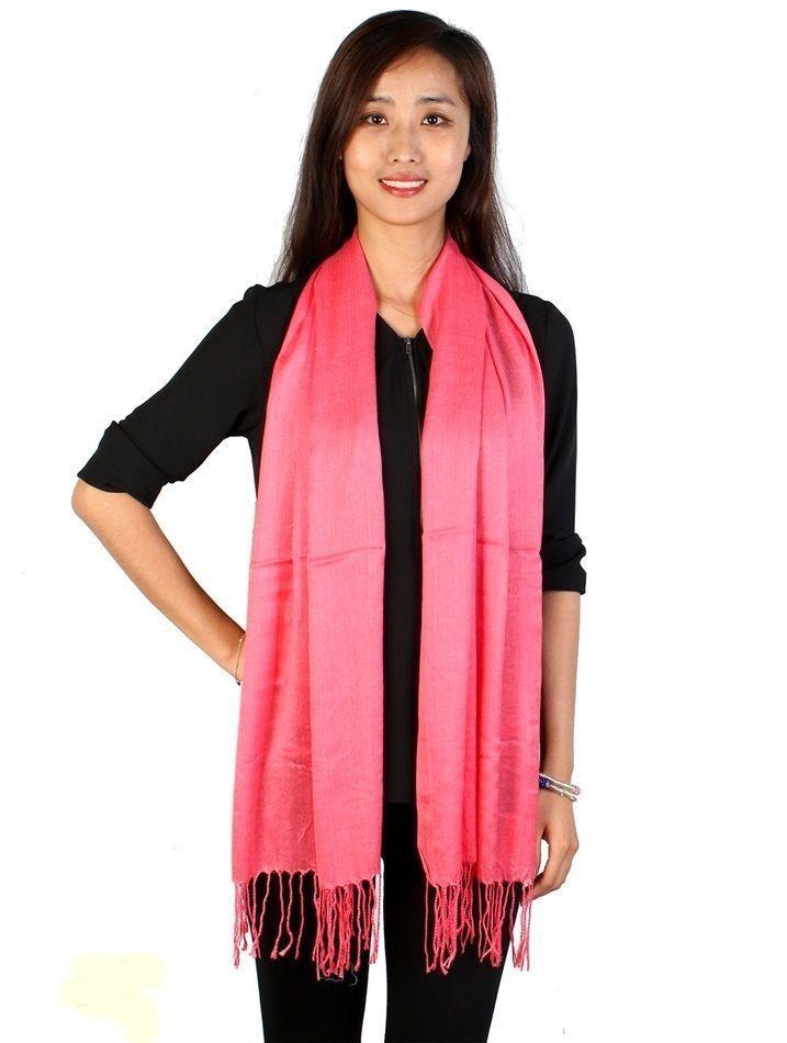 Coral Pashmina Silk Blend Fashion Scarf Wrap 72  X 40  NEW NWT