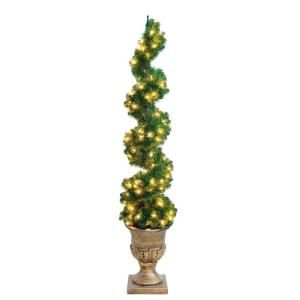 Home Accents Holiday, 6 ft. Pre-Lit Spiral Potted Artificial Christmas Tree, W-SPR-60TP at The Home Depot - Tablet