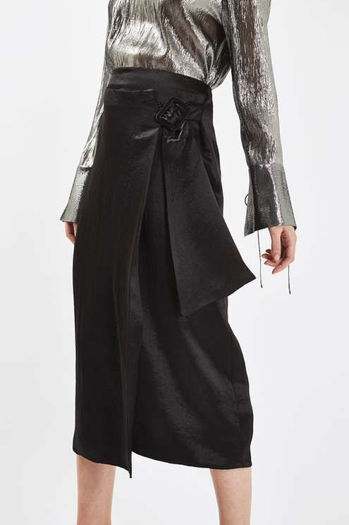 Crushed satin wrap skirt with buckle fastening at side, by Boutique. #Topshop