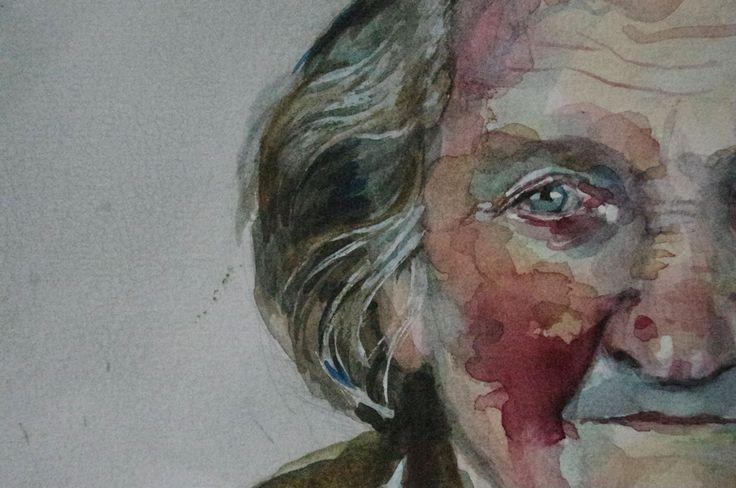 watercolor portrait, akwarela portret, detal