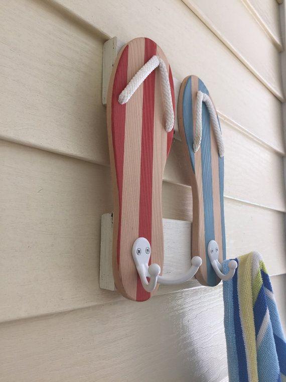 Flip Flops towel rack beach sign beach towel rack by PeavyPieces