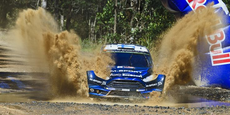 WRC 2014 Sun 02 Ford Splash front - COFFS HARBOUR, AUSTRALIA - SEP 14: Finnish crew M. HIRVONEN J. LEHTINEN M-Sport World Rally in a Ford Fiesta RS WRC 2014 race in Coffs Harbour , Australia on 14 September 2014