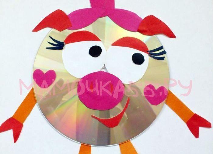 Нюша из диска и цветной бумаги   «Мамочка55.ру» сайт для родителей и детей