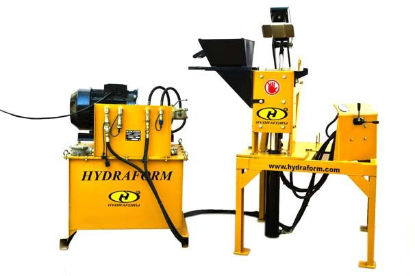 Hydraform M7S1 Interlocking Block Making Machine. The Hydraform M7S1E is a good option for clients that are setting up a permanent block yard. The machine comes with a Hydraform diesel or electric motor and one compression chamber. Because of the one chamber, the output of this machine is 1,500 blocks per shift. It is recommended that a 300 litre pan mixer is used with this machine.  Features + Stationary machine + Diesel/Electric powered + 1 Chamber  *1500 blocks