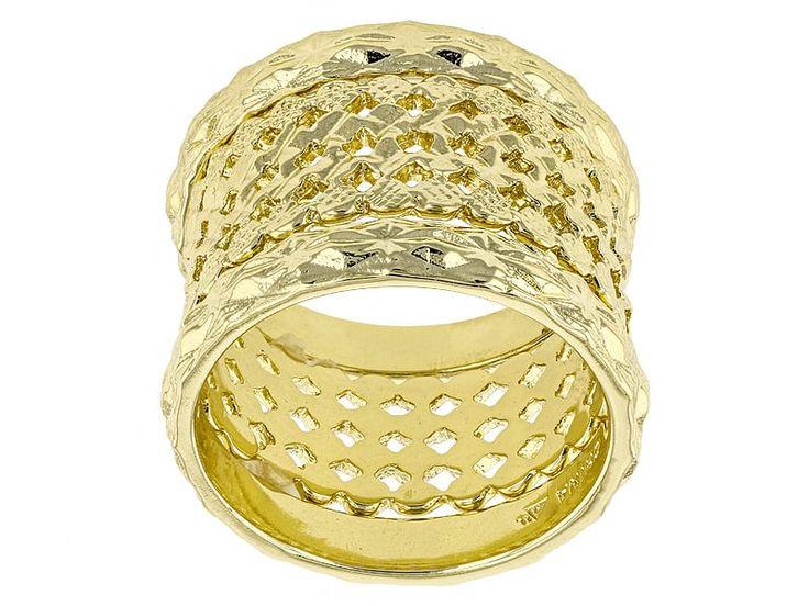 Moda Di Pietra(Tm) 18k Yellow Gold Over Bronze Set Of 3 Stackable Rings