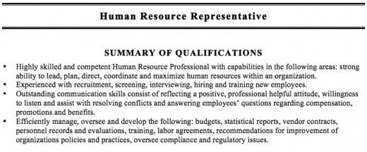Summary Of Qualifications Resume Example