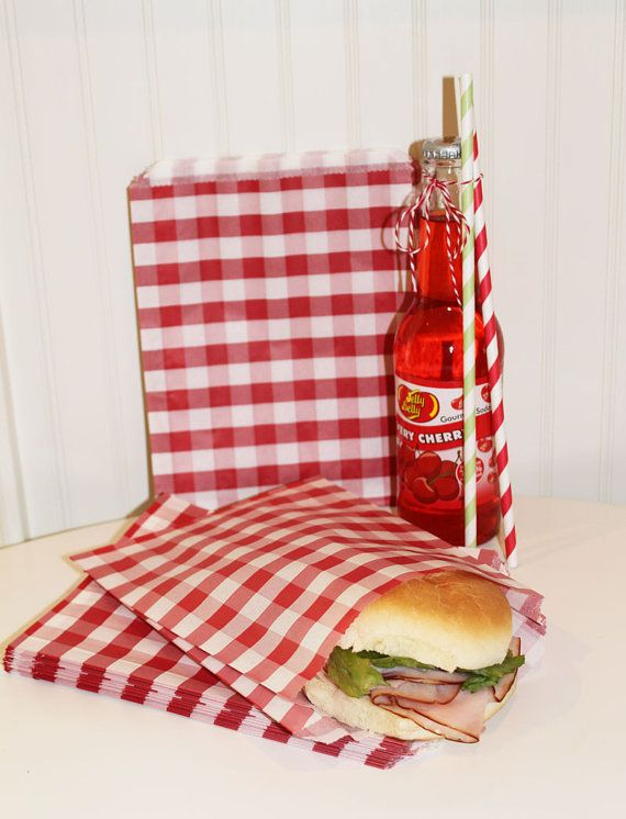 Sandwich Bag, 24 Red Gingham Party Bags, Tailgating, Camping, Picnics, Country Western Weddings, Cowboy Parties, Hamburger Bags