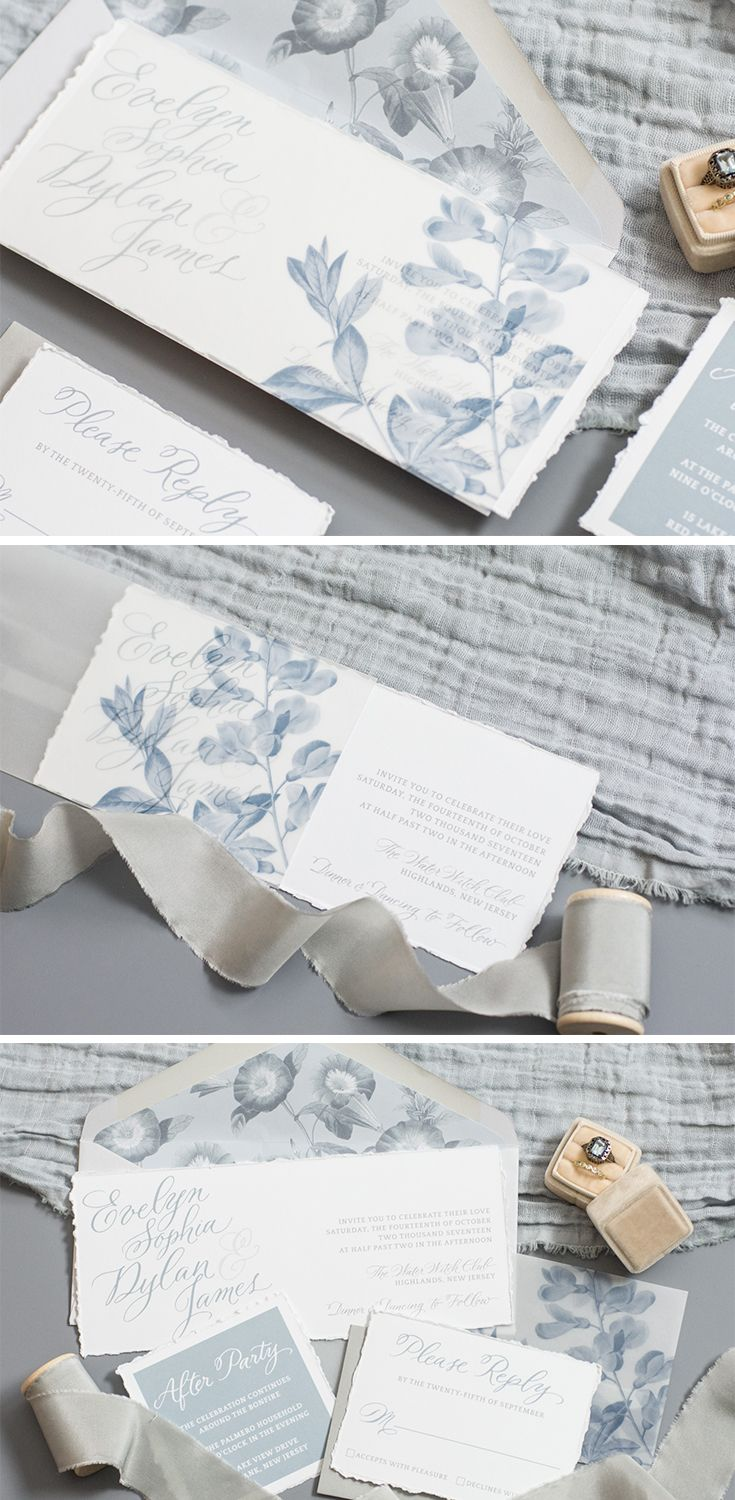 Dusty Blue Floral Vellum Sleeve Wedding Invitation by Lavender & Love Creative. Hand Torn Invitations, Calligraphy Invitations, Dusty Blue Wedding. #weddinginspiration #weddinginvitations #weddinginvites #vintagewedding #weddings http://www.lavenderandlovecreative.com/evelynsuite