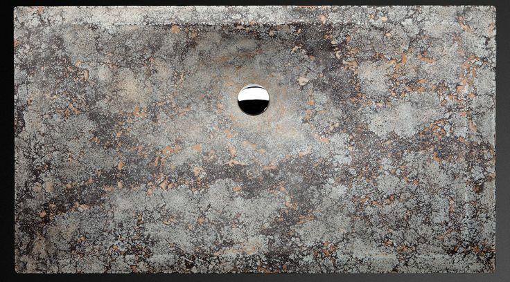 Design washbasin. Modern rectangular shape. Handcrafted of engineered concrete Danzare.PIETRA