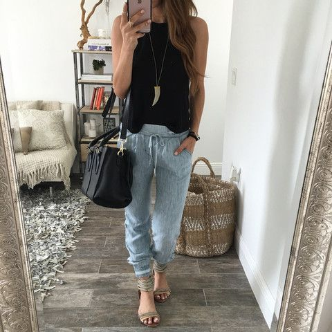 Jamie Denim Joggers | OHM BOUTIQUE