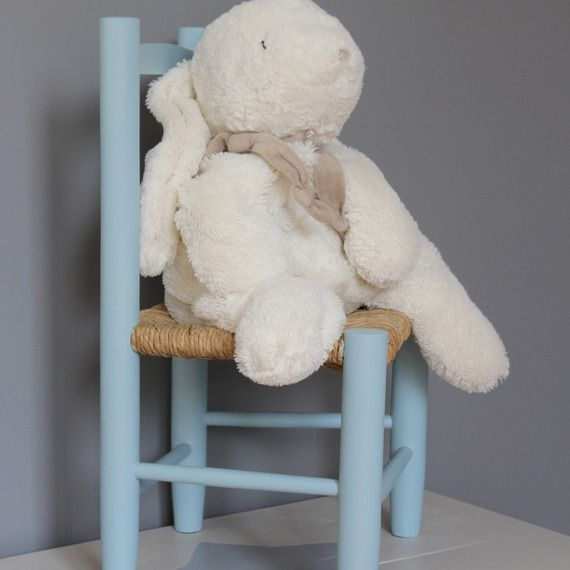 Petite chaise d'enfant bleue personnalisable