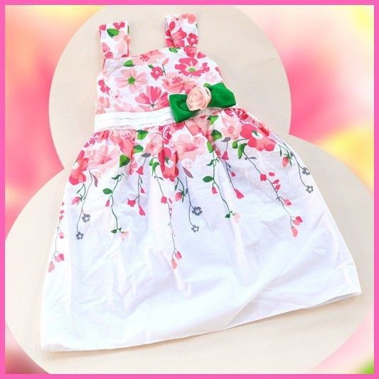 New 2015 flowers cotton girl dress summer baby girl dresses kids clothes fashion child girl clothing