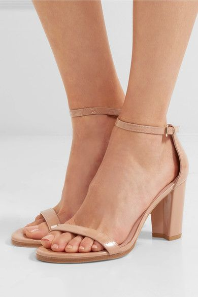 Heel measures approximately 80mm/ 3 inches Beige patent-leather  Buckle-fastening ankle strap Designer color: Buff Made in Spain