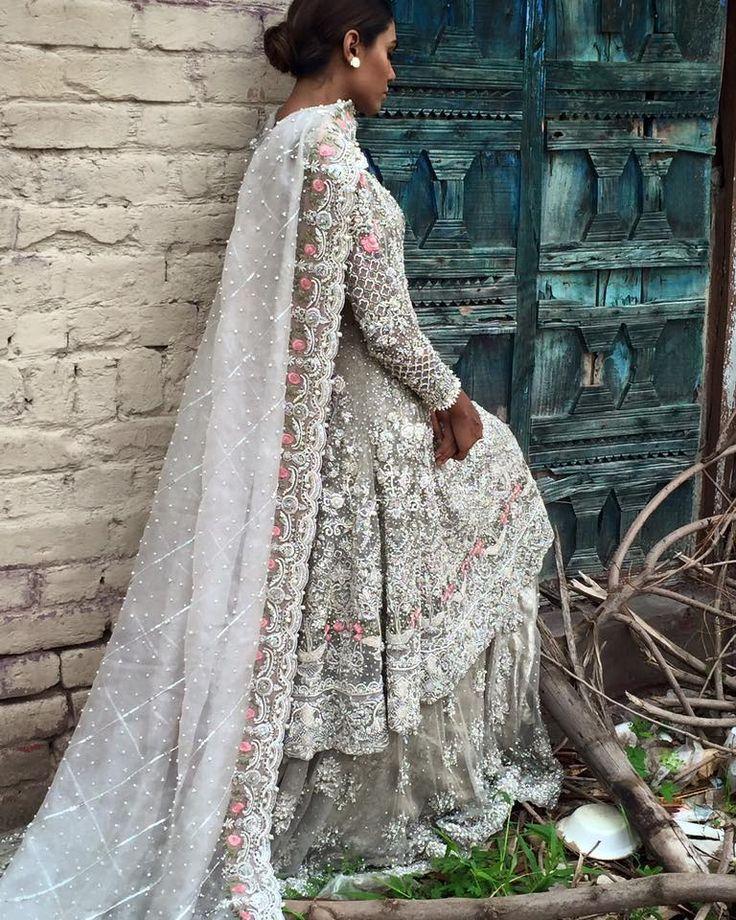 Pakistani wedding dresses 2018 white tiffany
