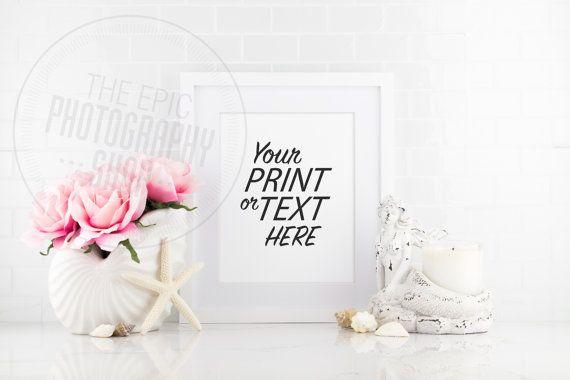 Styled Stock Photography / Pink Flowers, Sea Shells, Mermaid, Beach / Washroom, Kitchen / Blank Frame / Empty Frame / WR010