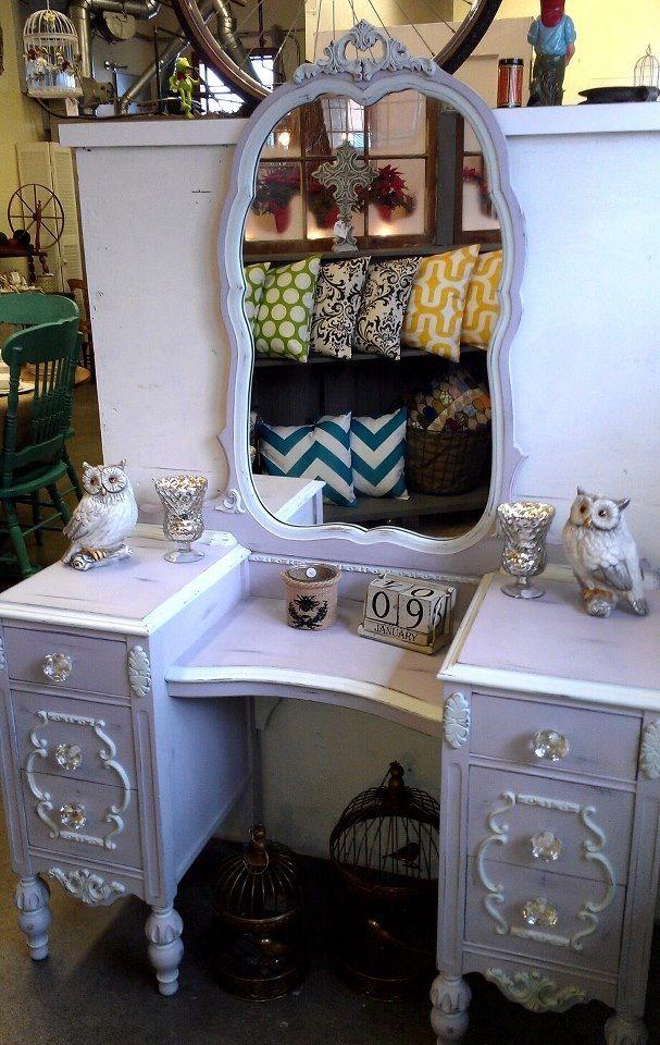Antique Vanity In Pastille And Sugar Cane La Craie By Maison Blanche |  Classic Farmhouse