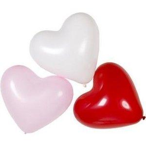 Hart Ballonnen Rood Roze en Wit *Nieuw* Ballon Feestartikelen
