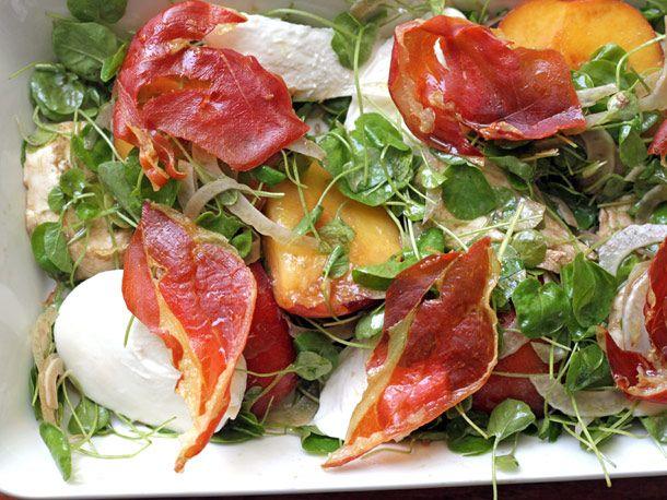 Tyler Florence's Peach, Mozzarella, and Crispy Prosciutto Salad #recipe