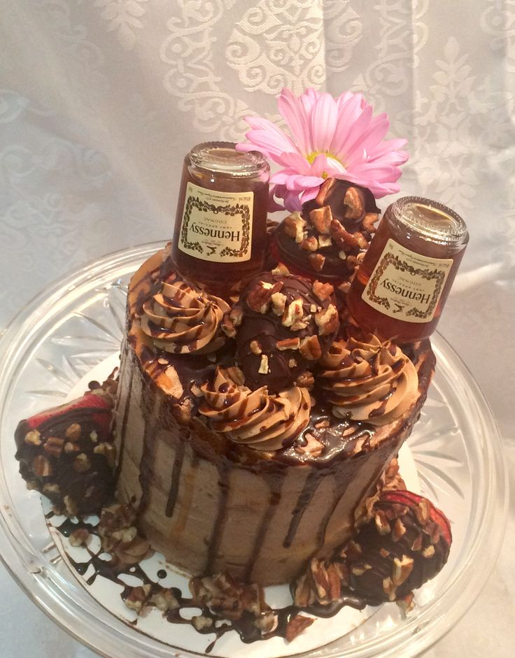 Hennessy Infused Drip Cake with Chocolate Strawberries and Pecans