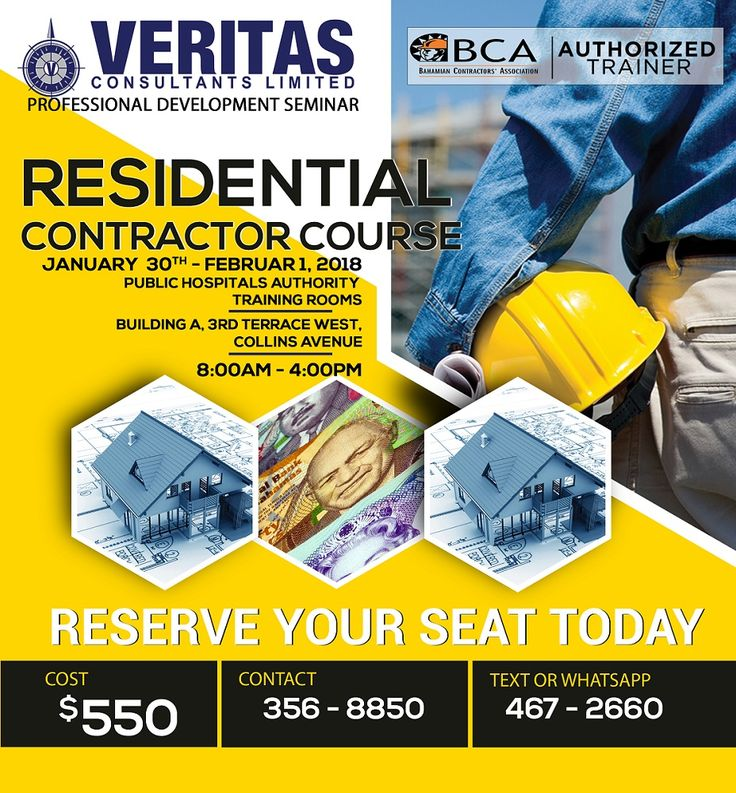 Reserve your seat TODAY for the Residential Contractor Course starting January 30th, 2018