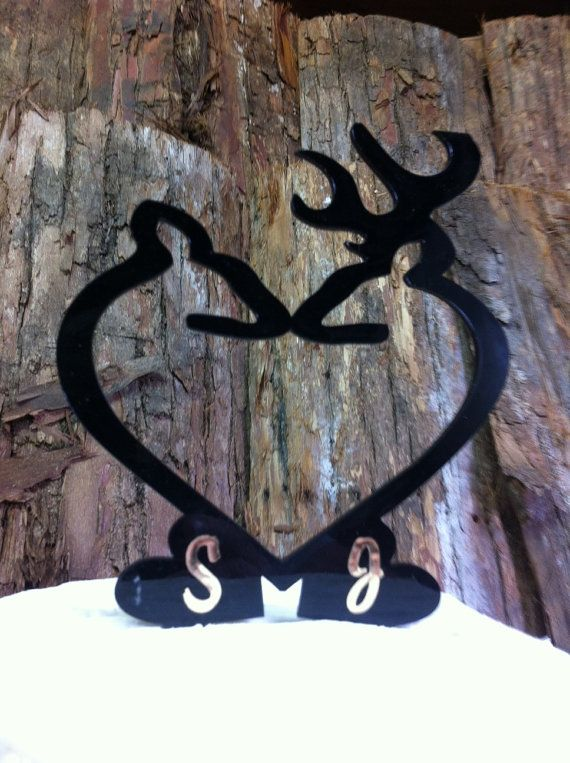 Rustic, Country DOE & BUCK Custom Personalized Wedding Cake Topper.
