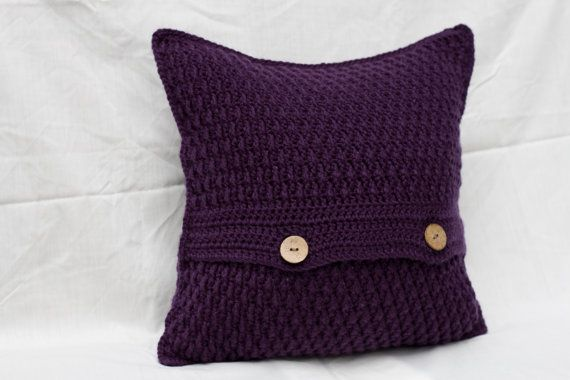 Crochet Cushion Cover, Purple Cushion Cover, Purple Throw Pillow, Scatter…
