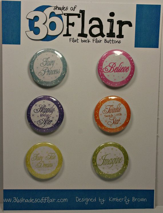 Fairy Tale Round Flat backed Flair Buttons by 36ShadesofFlair, $4.75