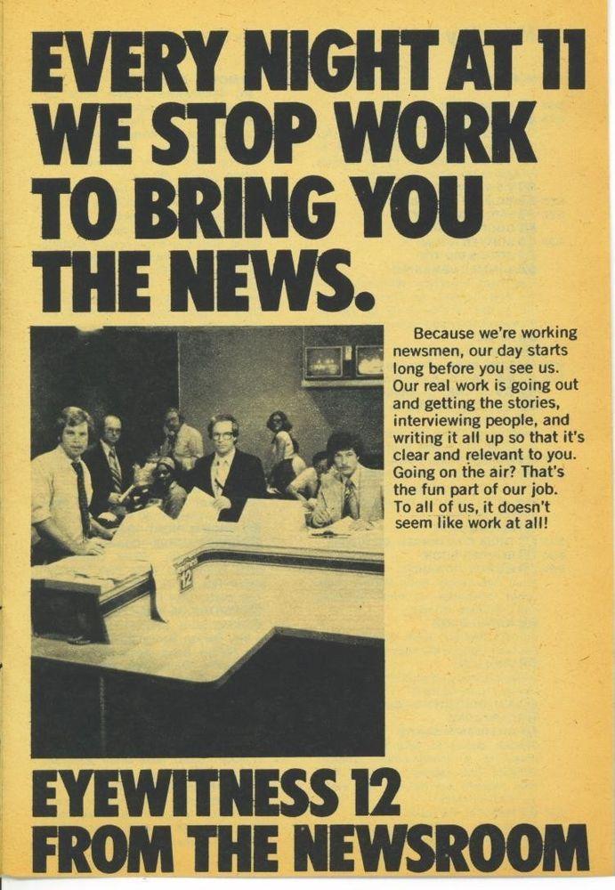1976 WKRC-Tv guide Ad  Eyewitness Newsroom 12 News Promo ad Cincinnati Ohio