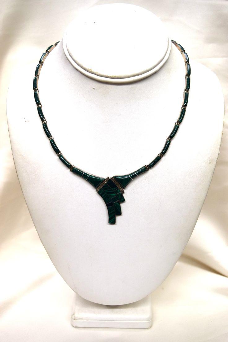 Vintage Malachite Silver Necklace